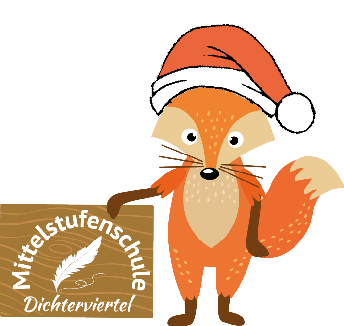Fuchs mit Weihnachtsmütze